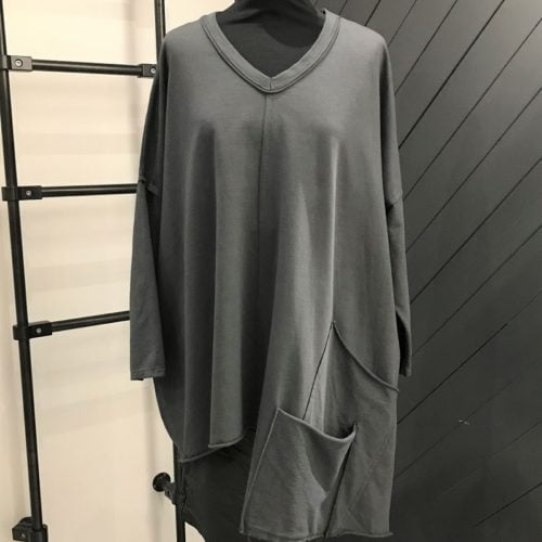 Charcoal Grey Two Pocket Side Top