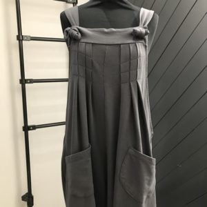 Beautiful Charcoal Grey Wide Leg Pintuck Dungarees
